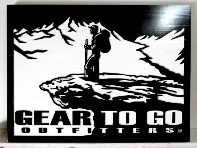 """SA28038 - Carved Wood Sign for"""" Gear to Go Outfitters"""" Store."""