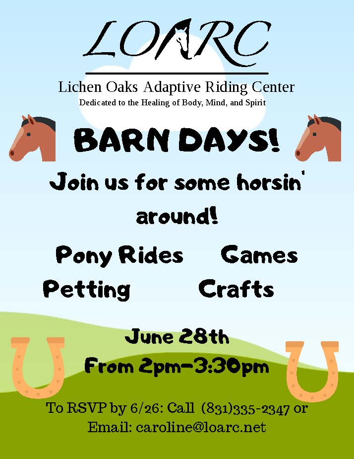Join Us For: BARN DAYS!
