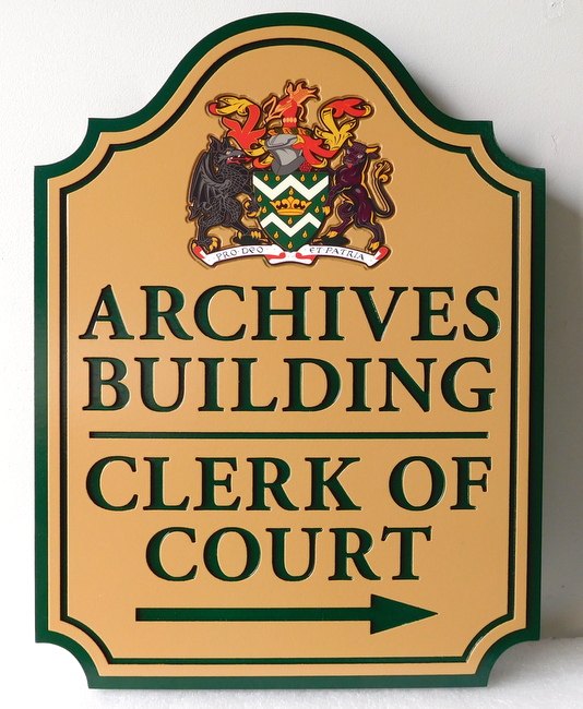 F15042 - Carved Sign for Archives Buildingl, Kings and Queens County