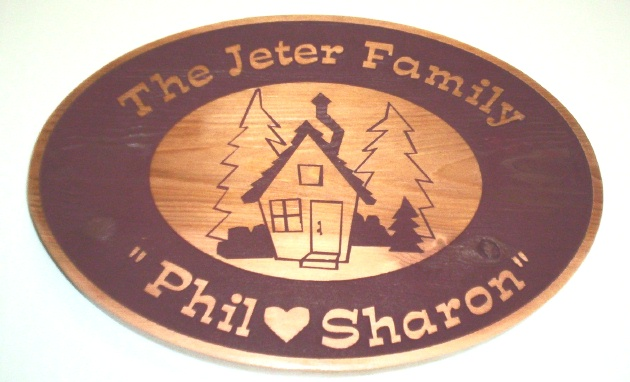 M22016  - Wood Sign for Family Cottage in the Woods