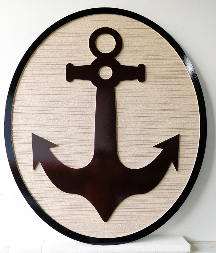 L22015 - Carved and Sandblasted Wall Plaque Featuring a Ship's Anchor