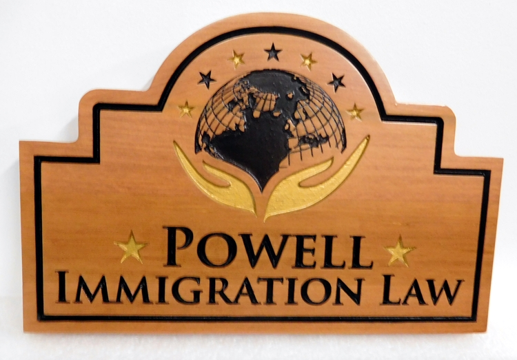 A10007- Carved, Engraved  Maple Wood Plaque for Immigration Law Firm Featuring  Carved Logo of World with Caring Hands Beneath