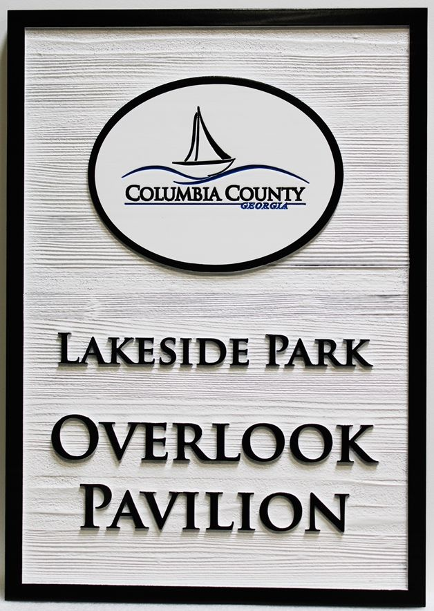 GA16486 - Carved Western Red Cedar  sign was made for Lakeside Park, in Columbia County, Georgiam with a Stylized Sailboat as Artwork