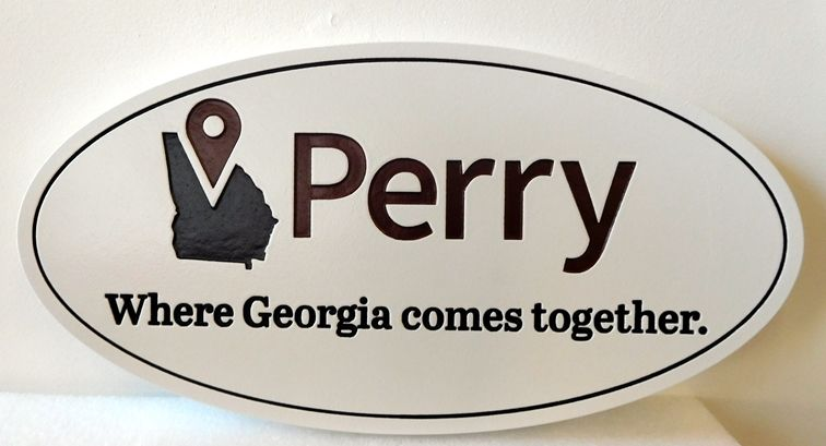 X33130 - Engraved HDU Wall Plaque of the Logo/Brand of  the Cityof Perry, Georgia