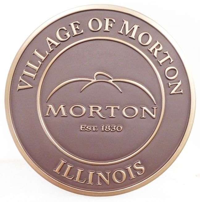 X33102  - Carved 2.5-D  Brass-plated HDU Plaque of the Seal of the Village of Morton, Illinois