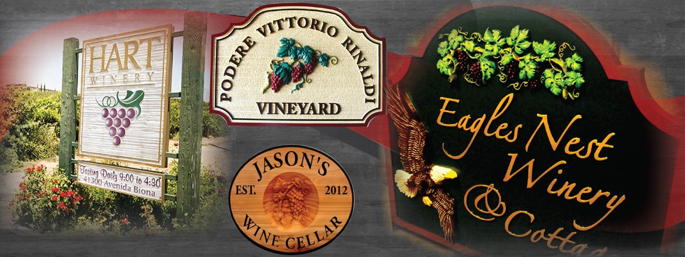 Winery, Wine Cellar and Vineyard Signs