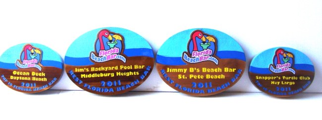 L21955 - Painted Wood Signs for Florida Beach Bar with Pink Flaminggo