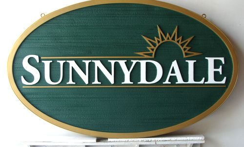 K20148 - Carved and  Sandblasted Urethane (HDU)  Sign for Sunnydale Residential Community