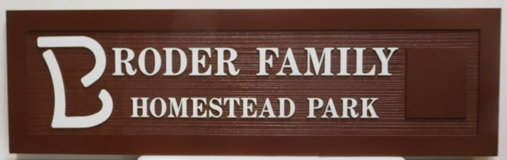 GA16417 - Carved and Sandblasted Wood Grain Sign for the Broder Family Homestead Park, 2.5-D Artist-Painted