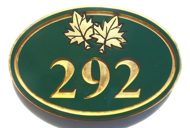 T29195 - Engraved  HDU  Room Number Plaque with  Maple Leaf , 24K Gold-Leaf