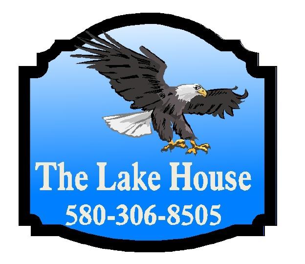 Q25174 - Design of Carved Wood  Restaurant Sign with Soaring Eagle