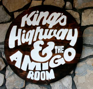 "RB27130 - Wooden Sign for  the ""King's Highway & the Amigo Room""  Bar and Entertainment Room Sign"