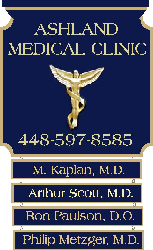 B11015 -  Carved Wood Medical Clinic Sign, with multiple Physicians on Hanging Signs