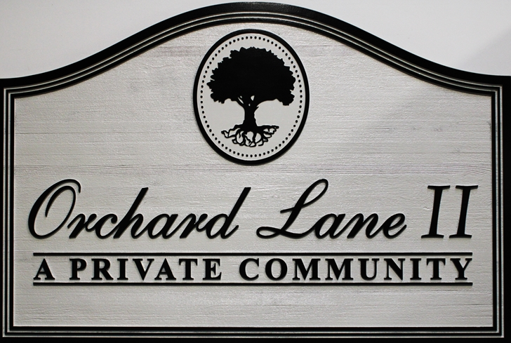 "K20382  - Carved Cedar Wood  Entrance Sign for  a Residential Community, ""Orchard Lane II"", 2.5-D, with Tree as Artwork"