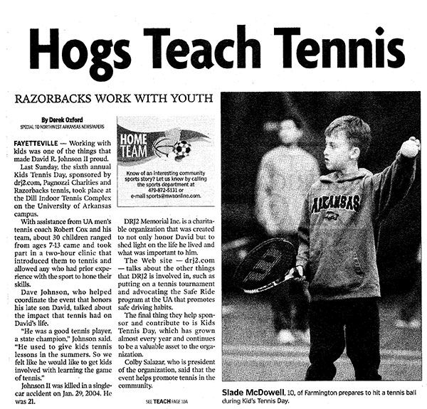 "Click here for full ""Hogs Teach Tennis"" Article"