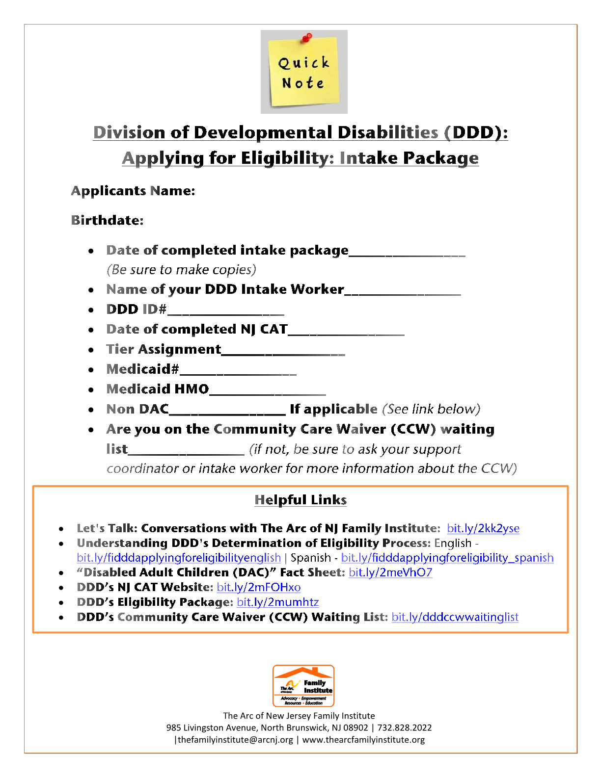 Eligibility Application