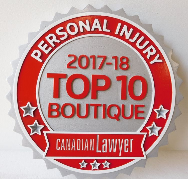 A10200 - Carved HDU For Personal Injury Canadian Attorney Listing and Award Given to that Attorney