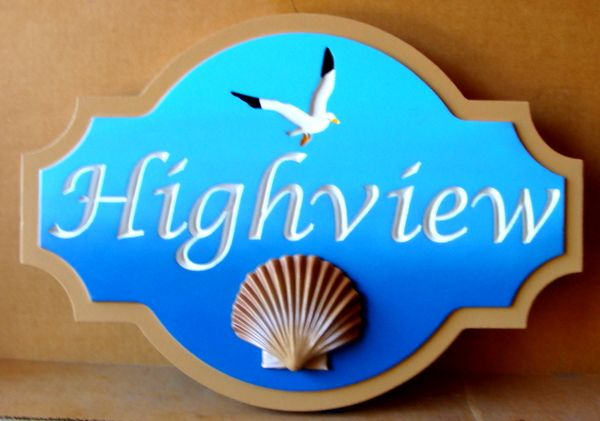 """L21613– 3D Carved and Engraved  Coastal Residence Name Sign, """"Highview"""", with Seagull and Clam Shell"""