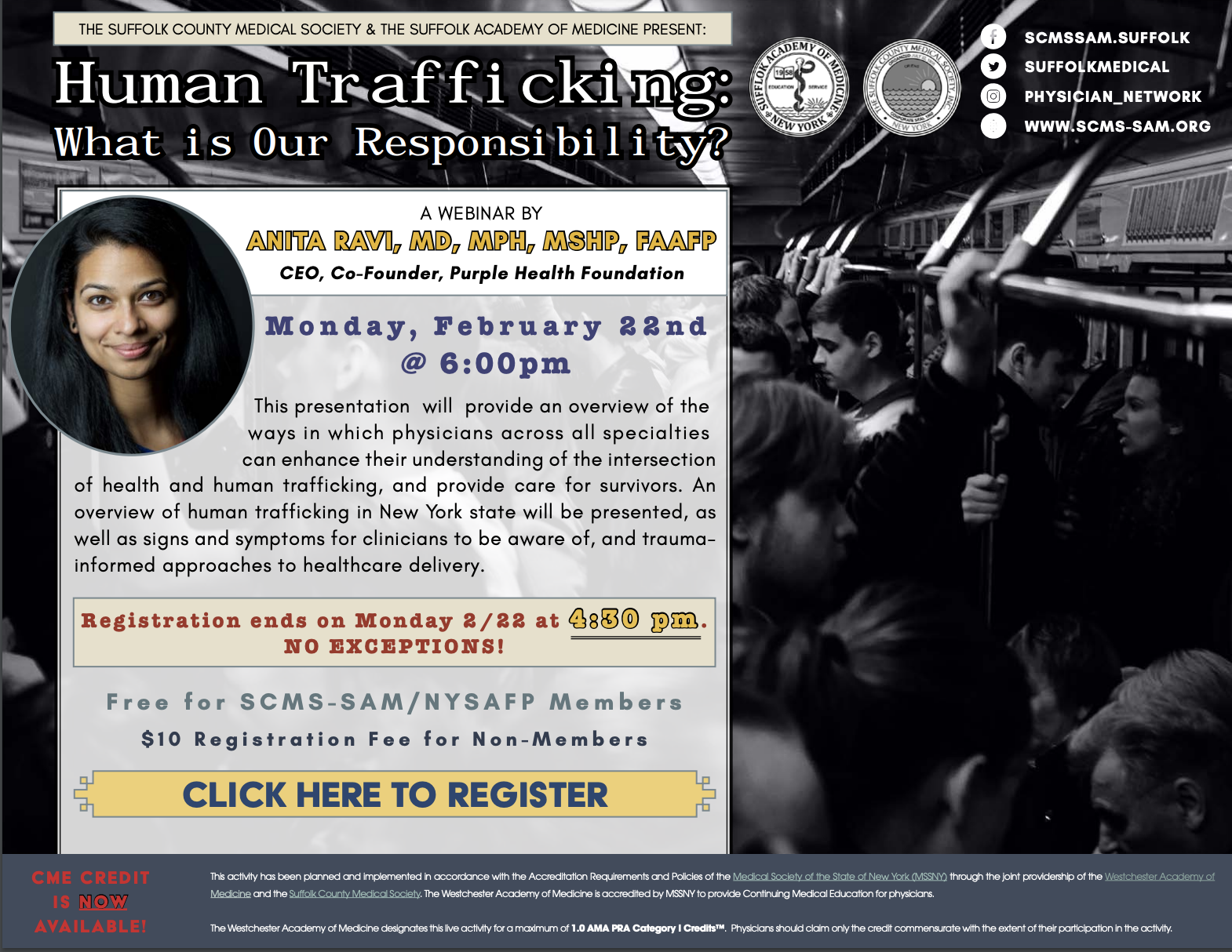 """The Suffolk County Medical Society: """"Human Trafficking: What is Our Responsibility?"""""""