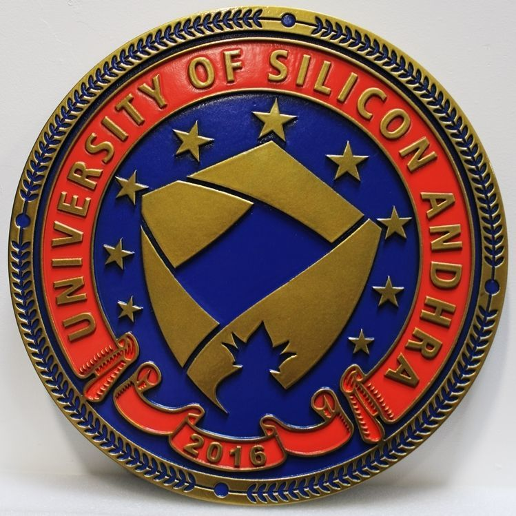 TP-1950 - Carved 2.5-D Plaque of the Seal of the University of Silicon Andhra