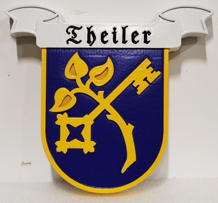 XP-3013 - Carved 2.5-D HDU Wall Plaque of the Theiler Family Coat-of-Arms with Key and Tree Branch