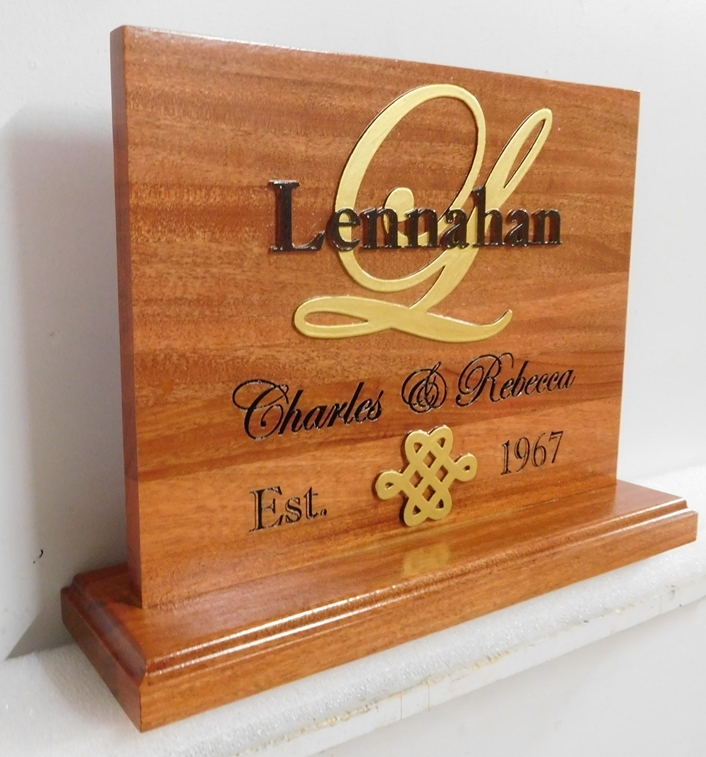 N23071 - Elegant Carved Mahogany  Plaque for a Married Couple with Gold  Monogram