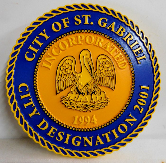 X33146 - Carved 2.5-D Outline Relief Wall Plaque of the Seal of the City of St.Gabriel, Louisiana