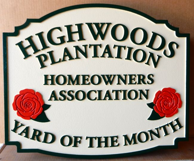 "KA20908 - Carved Yard-of-the-Month Sign with Rose Medallion  for the ""Highwoods Plantation"" HOA"