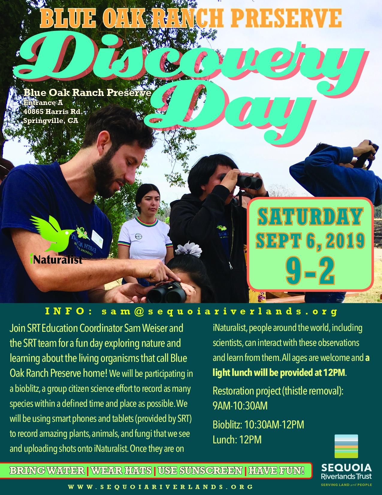 Discovery Day BioBlitz returns to Blue Oak Sept. 6