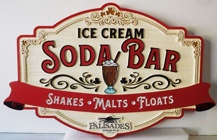 "Q25827 - Carved and Sandblasted Wood Grain Background Sign for an ""Ice Cream Soda Bar"""