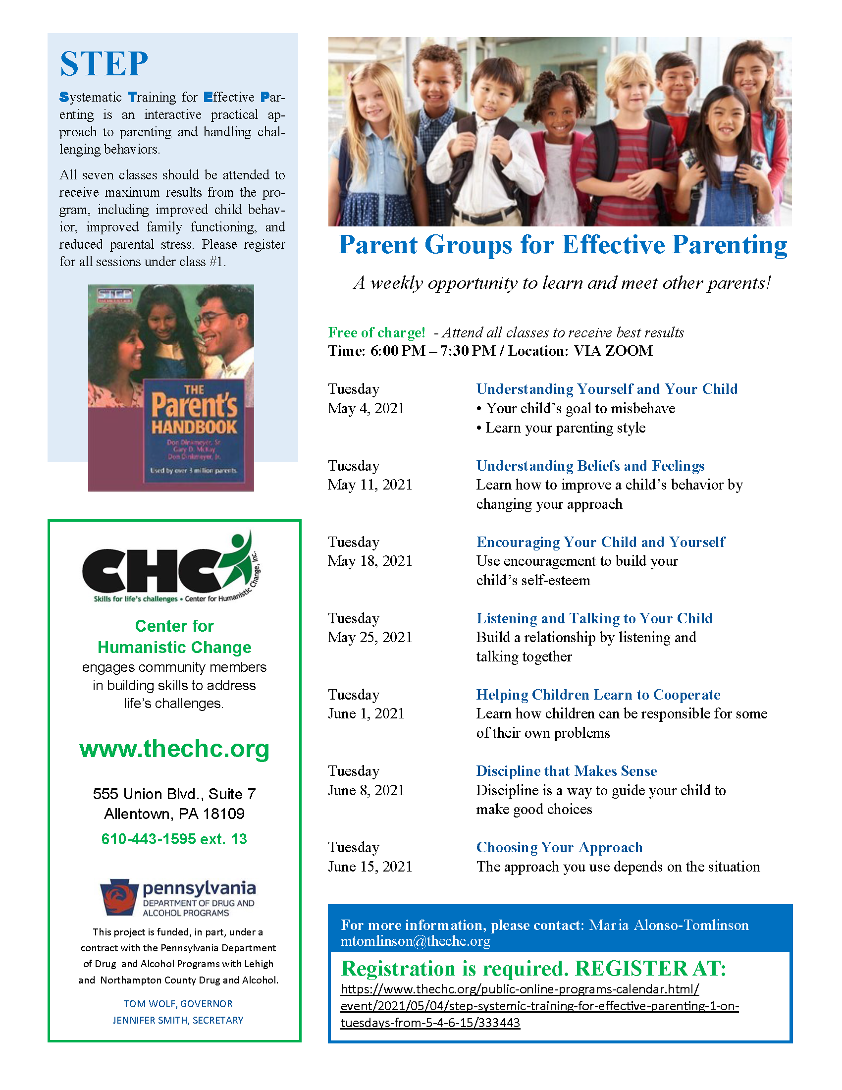 STEP: Systemic Training for Effective Parenting #5 on Tuesdays from 5/4-6/15