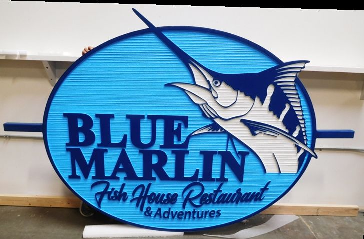"Q25106 - Carved and Sandblasted Wood Grain HDU Sign for a Fish House Restaurant, ""Blue Marlin"", 2.5-D"