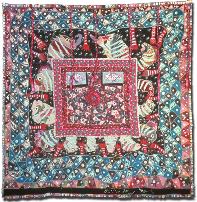 'Quilt Conversations,' made by Therese May, c. 1990-1996, 63 x 63.75 in, IQSCM 2011.044.0003