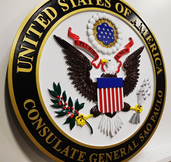 AP-3790 - Seal of the US Consulate General, Sao Paulo, Department of State, Artist-Painted