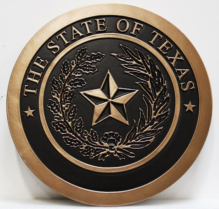 BP-1521 - Carved 2,5-D Raised Outline Relief Bronze-Plated Plaque of the Great Seal of the State of Texas