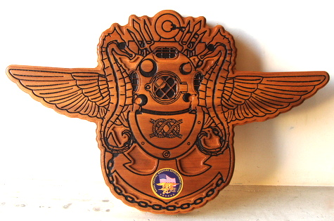 V31379 - Carved Cedar USN Special Forces Emblem with Diver's Helmet