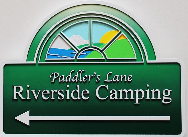 G16328 - Carved Multi-Level  HDU Directional Sign for Paddler's Lane Riverside Camping, with Ocean, Hills and Sky as Artwork