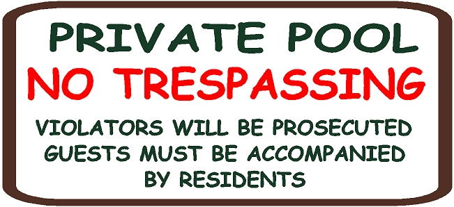 "GB16390 - Carved, HDU SignFor ""Private Pool No Trespassing"""