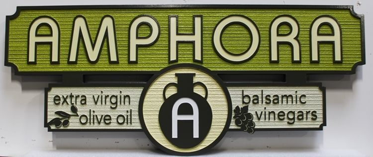 Q25621 = Carved and Sandblasted Wood Grain Sign sign for Amphora Olive Oil and Balsamic Vinegars