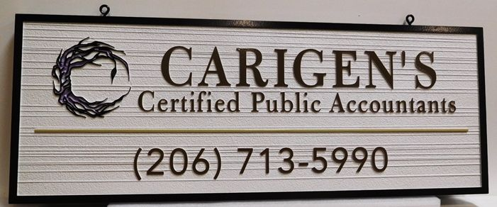 C12104 - Carved  Sign for Carigen's CPA firm,  2.5-D Relief with Raised Text and Border and Sandblasted Wood Grain Background