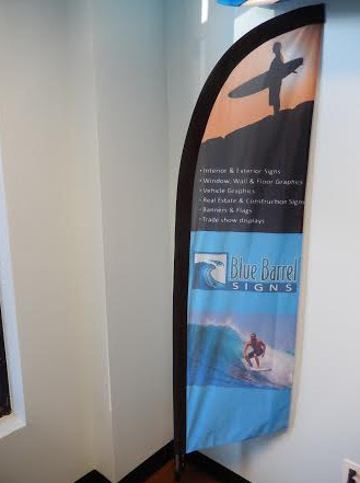 Trade show fabric bow flags and wind flags Central OR
