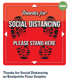 Thanks for Social Distancing w/Bootprints Floor Graphic