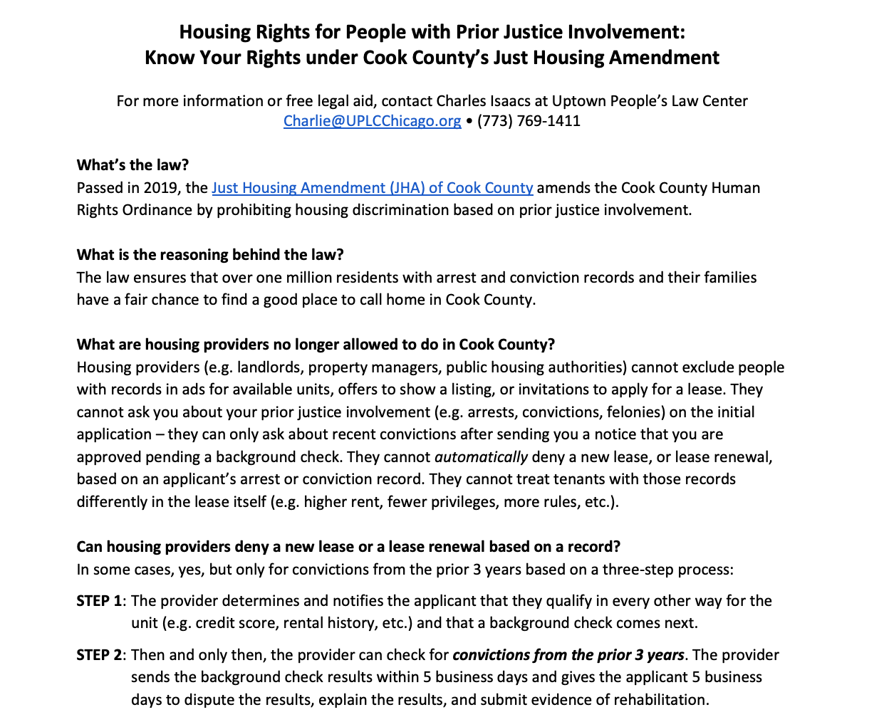 UPLC Guide to the Just Housing Amendment