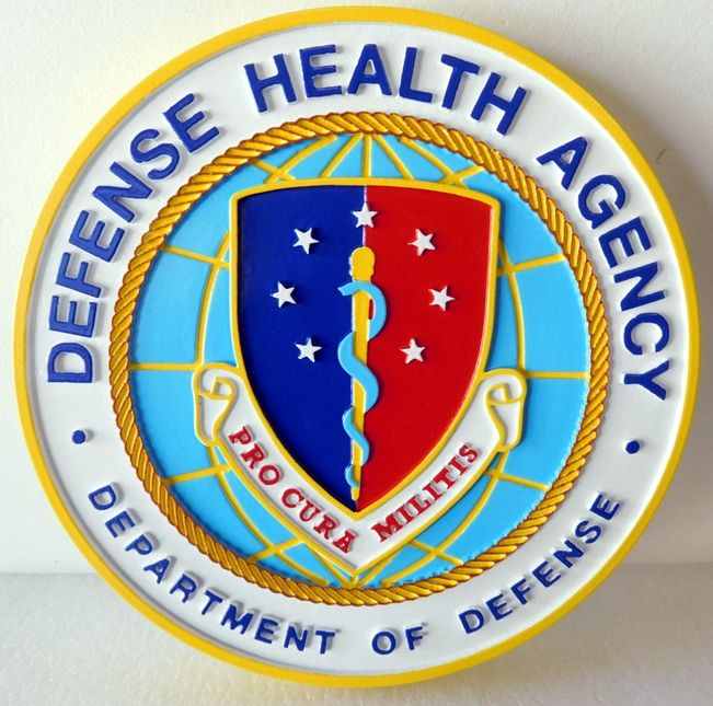 IP-1865 - Carved Plaque of the Seal of the Defense Health Agency, 2.5-D Artist-Painted