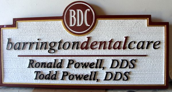 BA11642 - Carved and Sandblasted Dentistry Office Sign with Dentist Names