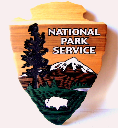 G16024 - Carved Cedar National Park Service (NPS) Arrow Logo