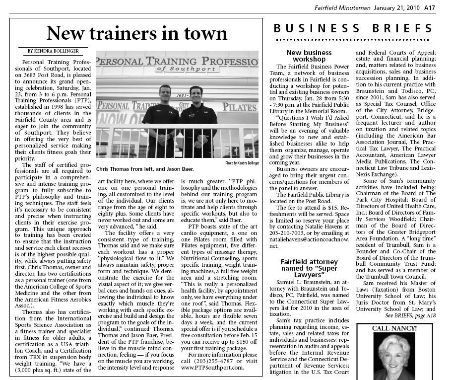 New Trainers in Town | Fairfield Minuteman | January 21, 2010