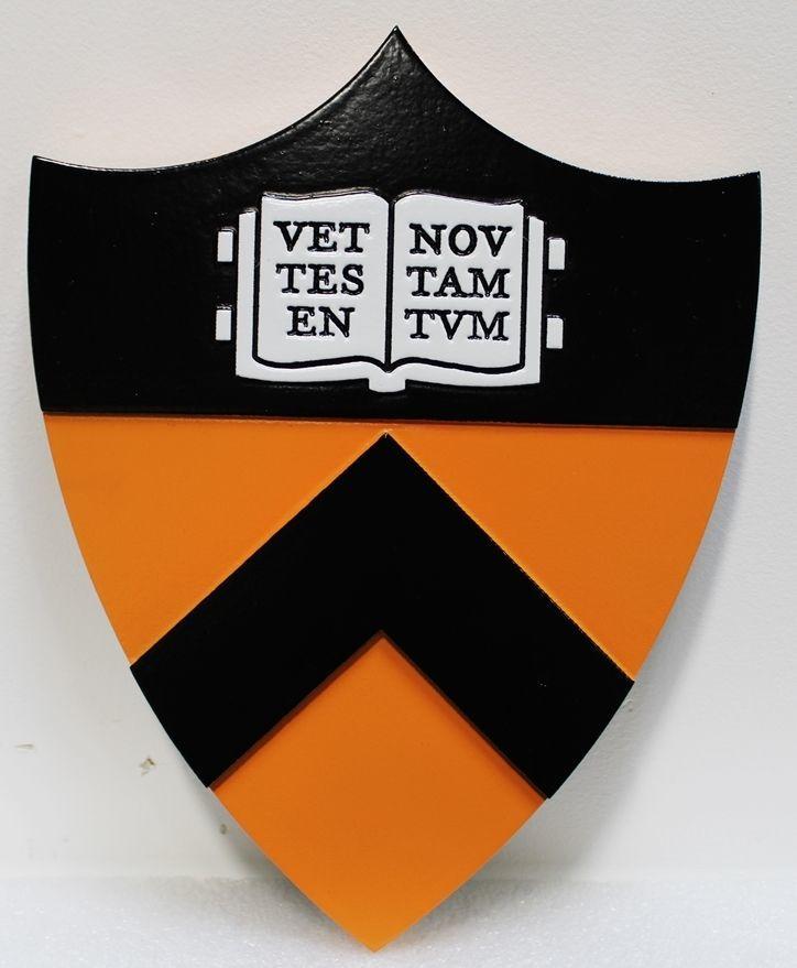 RP-1945 - Carved 2.5-D HDU Plaque of the Crest/Logo of Princeton University