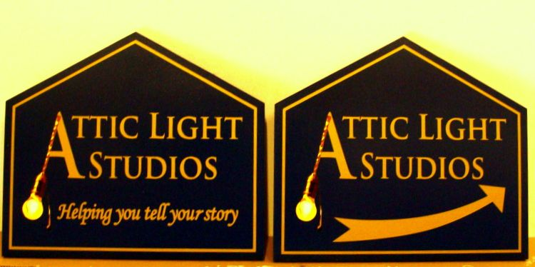 "SA28492 - Carved Sign for ""Attic Light"" Photo/Video  Studios"