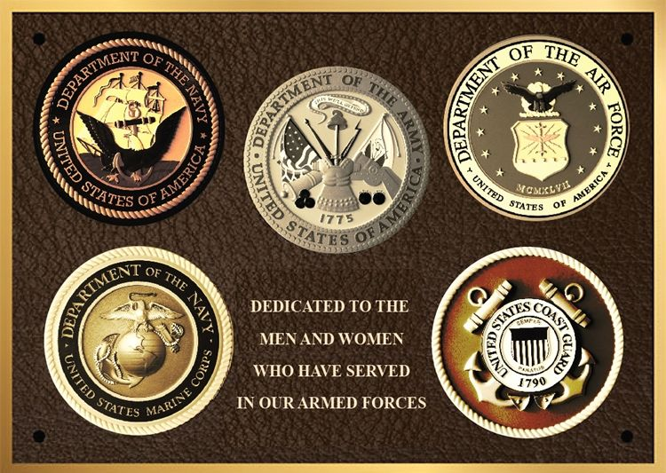 MC2480-  Brass-Plated  Memorial Plaque with Giclee Photos of Armed Forces Seals